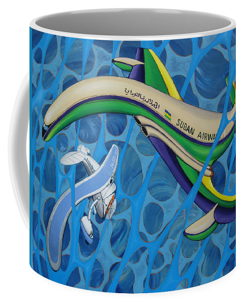 Comet Coffee Mug featuring the painting Comet - Vega Near Collission by Jeff Seaberg
