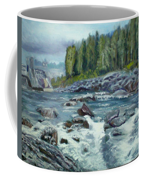 River Coffee Mug featuring the painting Coming Water by Elena Sokolova