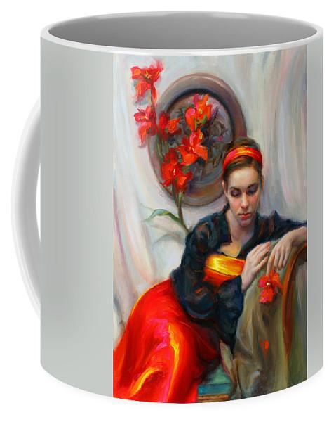 Talya Coffee Mug featuring the painting Common Threads - Divine Feminine in silk red dress by Talya Johnson