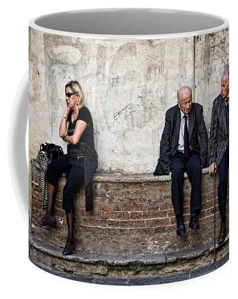 Street Photography Coffee Mug featuring the photograph Communication by Dave Bowman