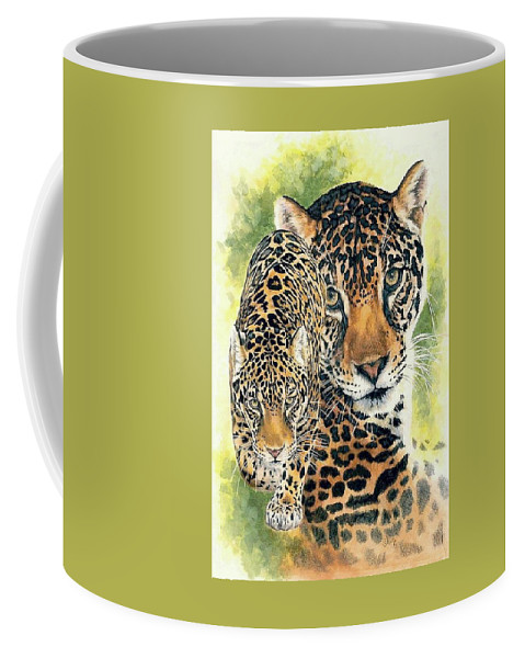 Jaguar Coffee Mug featuring the mixed media Compelling by Barbara Keith