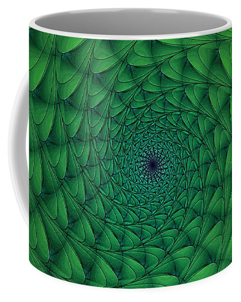 Fractal Abstract Coffee Mug featuring the digital art Complex Convexity Cavern Moss And Blue by Doug Morgan
