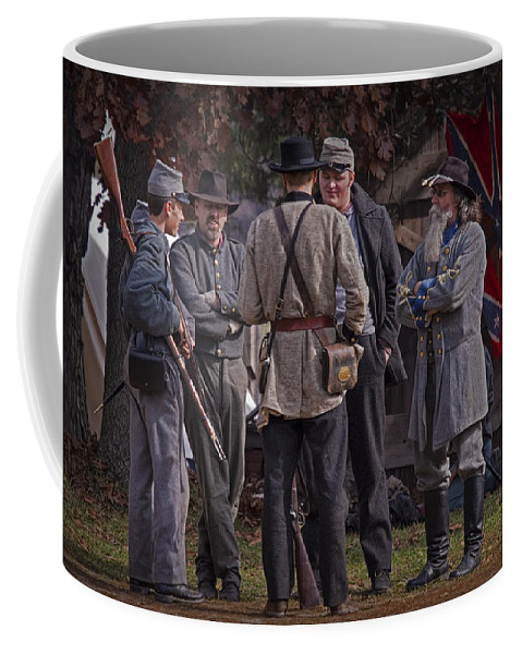 Foot Soldiers Coffee Mug featuring the photograph Confederate Civil War Reenactors With Rebel Confederate Flag by Randall Nyhof