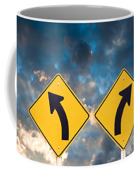 Ahead Coffee Mug featuring the photograph Confusing Road Signs by Stephan Pietzko