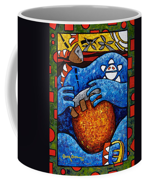 Puerto Rico Coffee Mug featuring the painting Conga On Fire by Oscar Ortiz