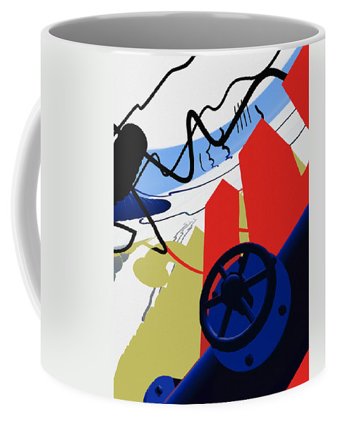 Abstract Coffee Mug featuring the digital art Connections by Richard Rizzo