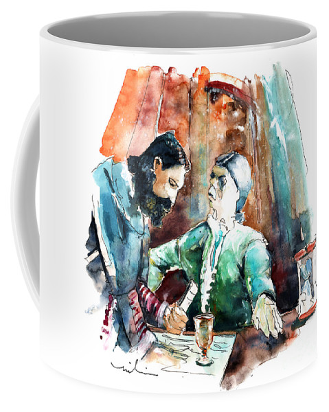 Portugal Coffee Mug featuring the painting Conquistadores On The Boat In Vila Do Conde In Portugal by Miki De Goodaboom