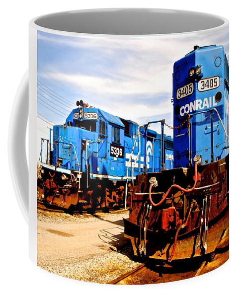 Conrail Coffee Mug featuring the photograph Conrail Choo Choo by Frozen in Time Fine Art Photography