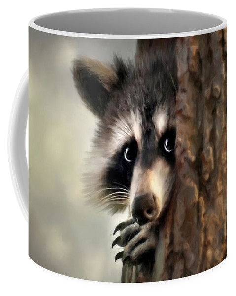 Raccoon Coffee Mug featuring the mixed media Conspicuous Bandit by Christina Rollo