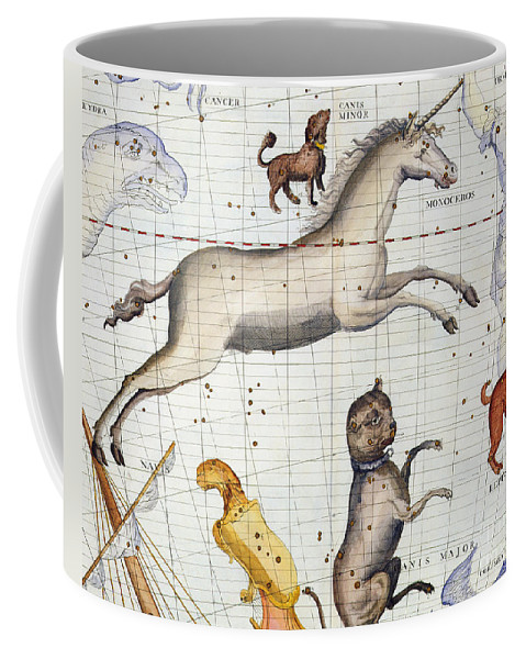 Map Coffee Mug featuring the painting Constellation of Monoceros with Canis Major and Minor by Sir James Thornhill