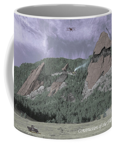 Boulder Coffee Mug featuring the photograph Construction Of The Flatirons - 1931 by Jerry McElroy