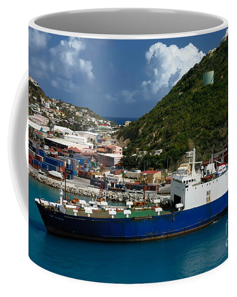 Boat Coffee Mug featuring the photograph Container Ship St Maarten by Amy Cicconi