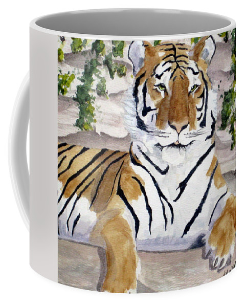 Tiger Coffee Mug featuring the painting Contemplating Dinner by Julia Rietz