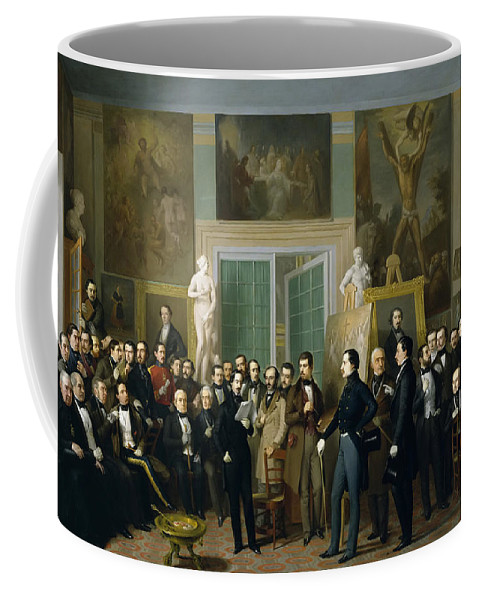 Antonio Maria Esquivel Coffee Mug featuring the painting Contemporary Poets. A Reading By Zorilla In The Painters Studio by Antonio Maria Esquivel