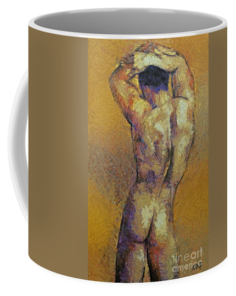 Male Body Builder Coffee Mug featuring the painting Content With Life by Dragica Micki Fortuna