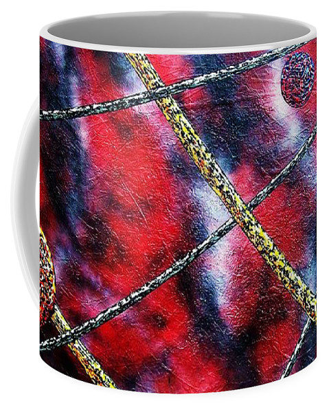 Abstract Coffee Mug featuring the painting Continuum IV red sky by Micah Guenther