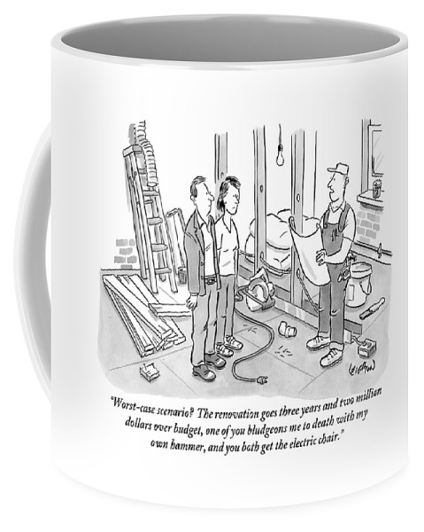 Renovation Coffee Mug featuring the drawing Contractor Examining A Blueprint And Speaking by Robert Leighton