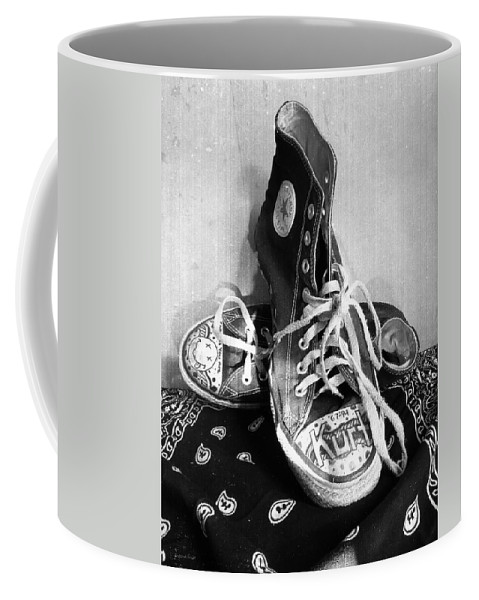 Converse Coffee Mug featuring the photograph Converse Graffiti by Shawna Rowe