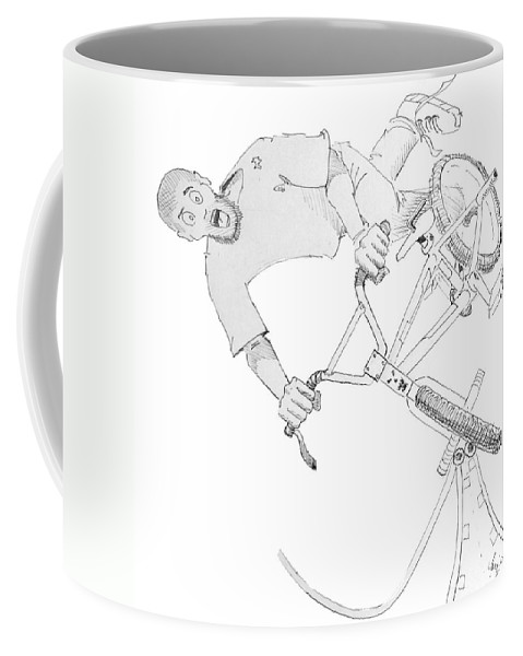 Bmx Coffee Mug featuring the drawing Cool Bmx Drawing by Mike Jory