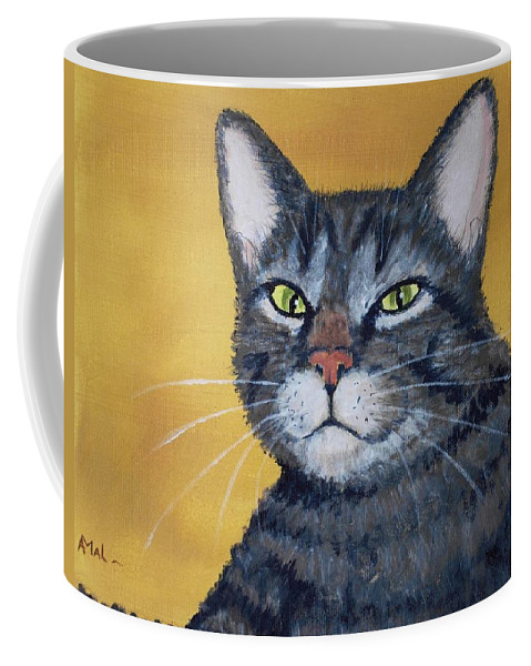 Malakhova Coffee Mug featuring the painting Cool Cat by Anastasiya Malakhova