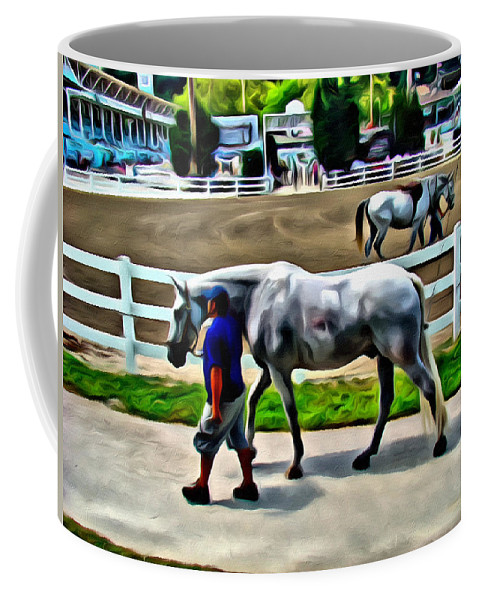 Devon Horse Show White Horse Scenic Alicegipsonphotographs Coffee Mug featuring the photograph Cool Down At Devon by Alice Gipson