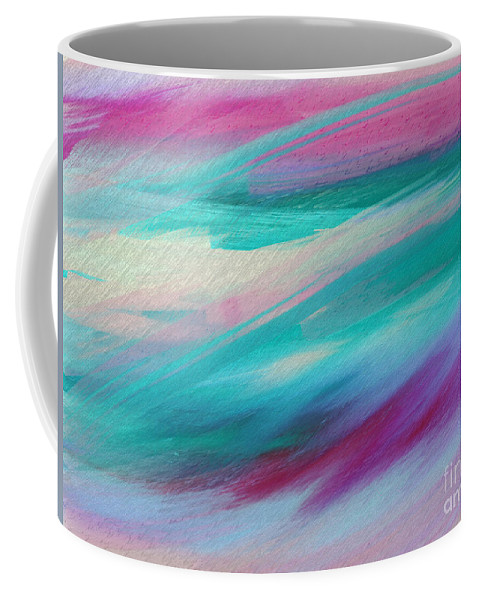 Abstract Coffee Mug featuring the digital art Cool Waves - Abstract - Digital Painting by Andee Design