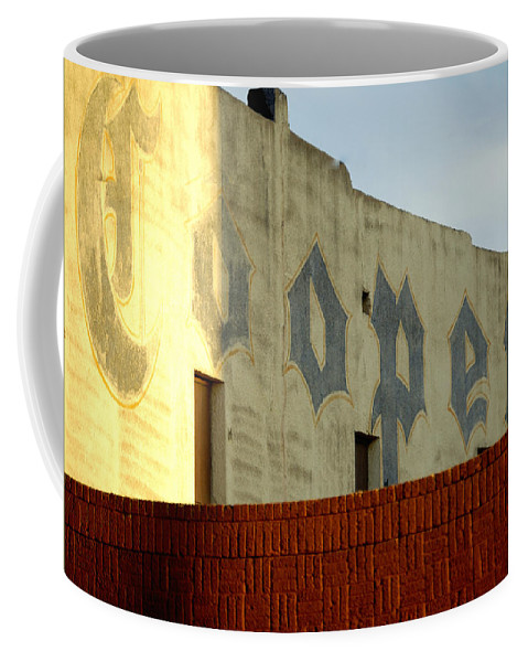 Sunset Coffee Mug featuring the photograph Coopers Ghost Sign 14476 by Jerry Sodorff