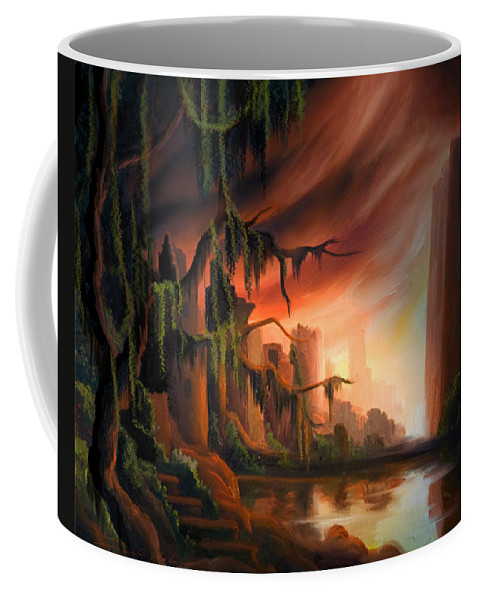 Sunrise Coffee Mug featuring the painting Cooridor Of Light by James Christopher Hill