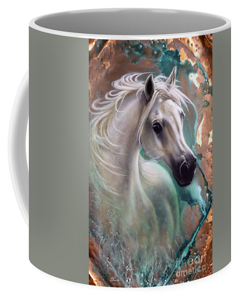 Copper Coffee Mug featuring the painting Copper Grace - Horse by Sandi Baker