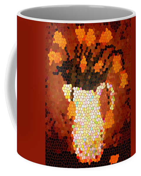 Coral Tulips In Stained Glass Coffee Mug featuring the digital art Coral Tulips In Stained Glass by Barbara Griffin