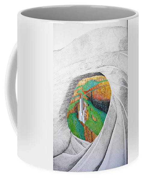 Rocks Coffee Mug featuring the painting Cornered Stones by A Robert Malcom