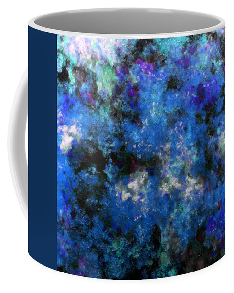 Abstract Coffee Mug featuring the digital art Corrosion Bleue by RochVanh