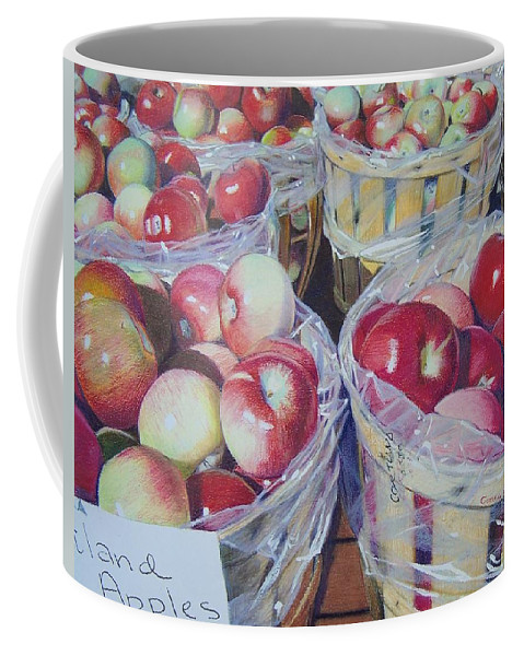 Apple Coffee Mug featuring the mixed media Cortland Apples by Constance Drescher