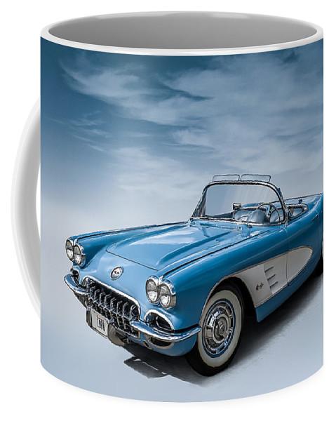 Corvette Coffee Mug featuring the digital art Corvette Blues by Douglas Pittman