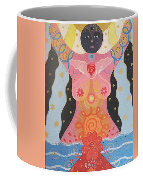 Goddess Coffee Mug featuring the painting Cosmic Carnival I V Aka Creation by Helena Tiainen