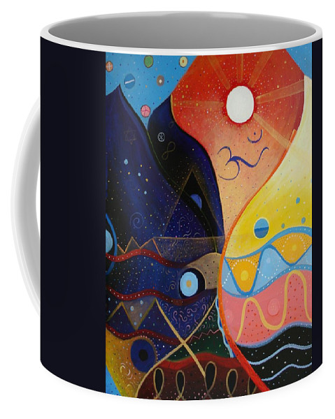 Value Coffee Mug featuring the painting Cosmic Carnival Vlll Aka Sacred And Profane by Helena Tiainen