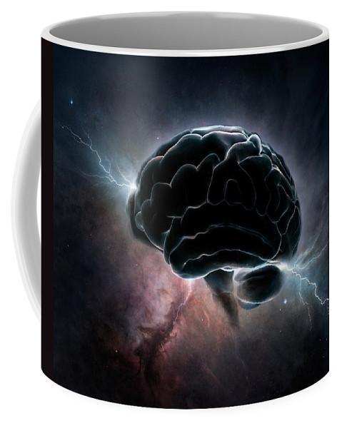 Brain Coffee Mug featuring the digital art Cosmic Intelligence by Johan Swanepoel
