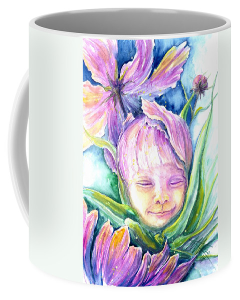 Baby Portraits Coffee Mug featuring the painting Cosmos Bud by Ashley Kujan