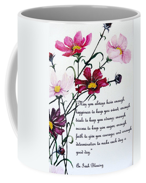 Pink Flowers Coffee Mug featuring the painting Cosmos Poem by Karin Dawn Kelshall- Best