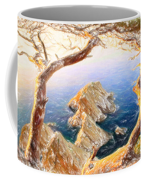 Costa Brava In Spain With Crayons Coffee Mug featuring the painting Costa Brava In Spain With Crayons by MotionAge Designs