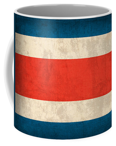 Costa Rica Flag Vintage Distressed Finish Coffee Mug featuring the mixed media Costa Rica Flag Vintage Distressed Finish by Design Turnpike