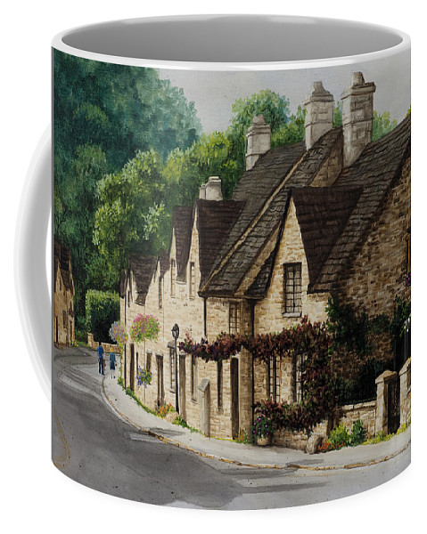 Architecture Coffee Mug featuring the painting Cotswold Street by Mary Palmer