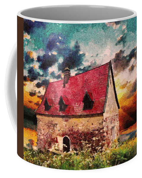 Cottage Coffee Mug featuring the mixed media Cottage By The Sea - Abstract Realism by Georgiana Romanovna