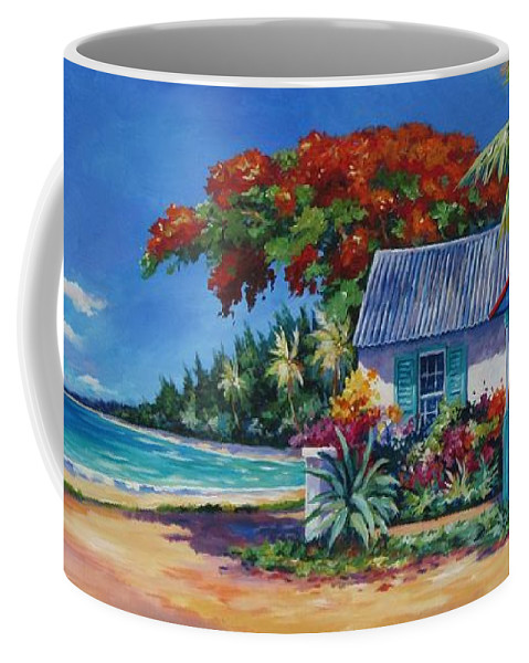 Art Coffee Mug featuring the painting Cottage On 7-mile Beach by John Clark
