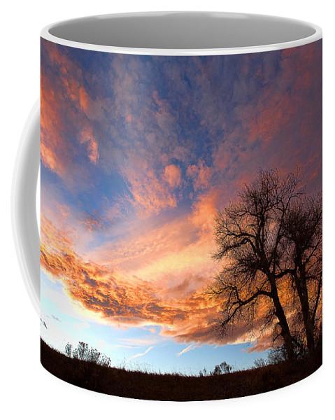 Sunset Canvas Print Coffee Mug featuring the photograph Cottonwood Sky by Jim Garrison