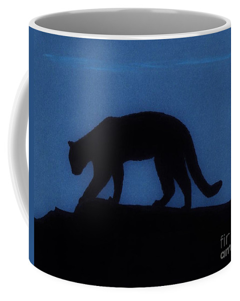 Cougar Coffee Mug featuring the drawing Cougar - At - Night by D Hackett