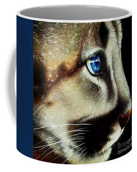 Cougar Cub Coffee Mug featuring the painting Cougar Cub by Jurek Zamoyski