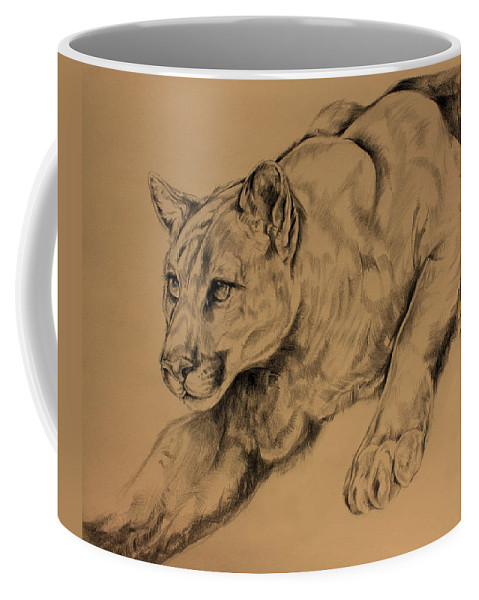 Mountain Lion Coffee Mug featuring the drawing Cougar by Derrick Higgins