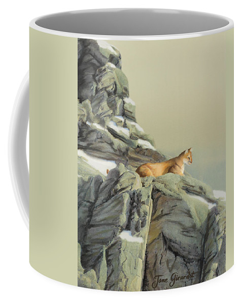 Cougar Coffee Mug featuring the painting Cougar Perch by Jane Girardot