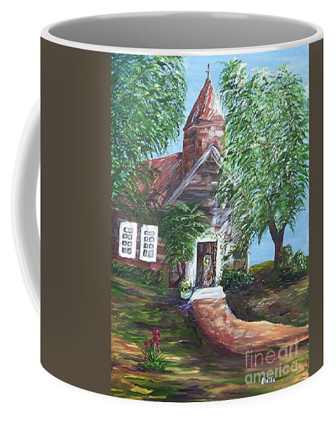 Church Coffee Mug featuring the painting Country Church by Eloise Schneider